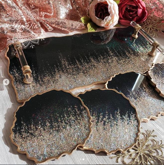 Ultra Glam Black Tray and Coaster Set