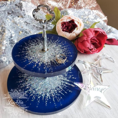 Royal Blue Ultra Glam Starburst 2 Tier Jewelry Stand- Small