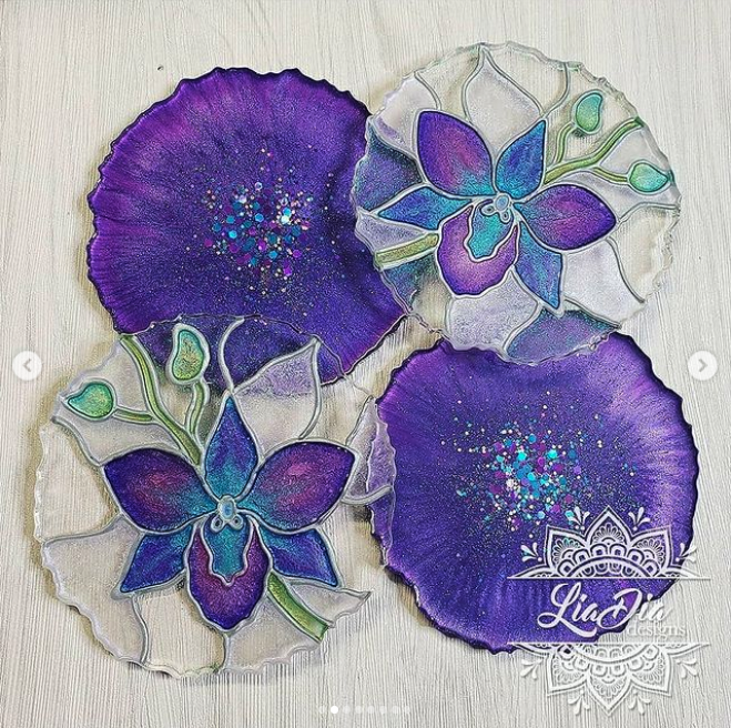 Stained Glass Style Coasters - Orchid - Set of 2