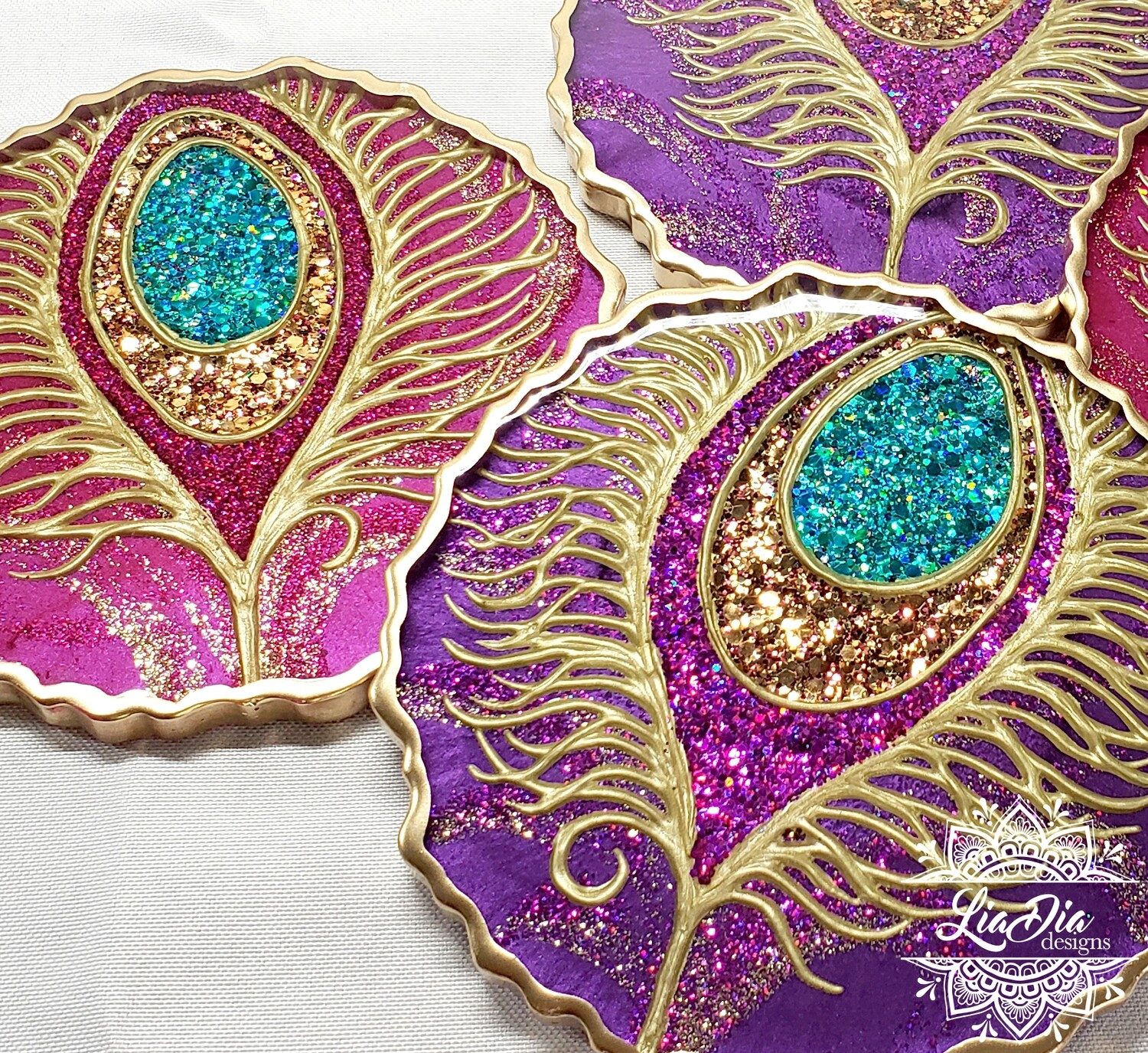 Glam Peacock Coasters - Set of 2