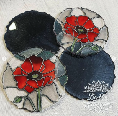 Stained Glass Style Coasters - Poppy - Set of 2