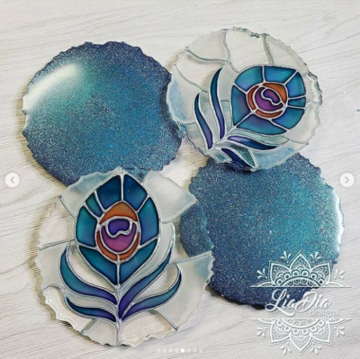 Stained Glass Style Coasters - Peacock Feather - Set of 2