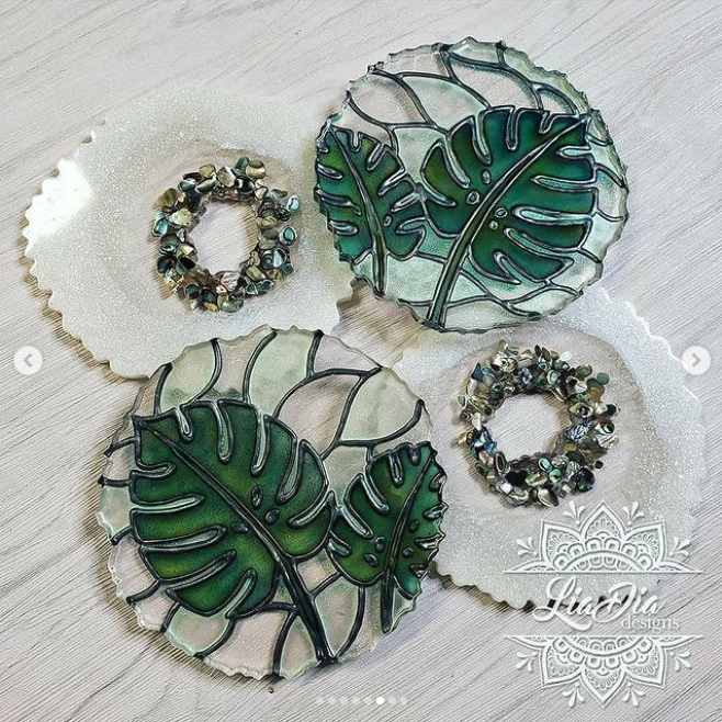 Stained Glass Style Coasters - Monstera - Set of 2