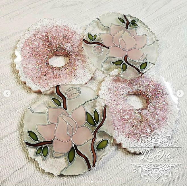 Stained Glass Style Coasters - Cherry Blossom/ Rose - Set of 2