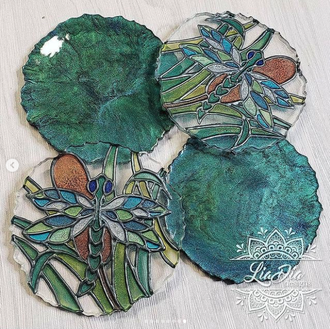 Stained Glass Style Coasters - Dragonfly - Set of 2