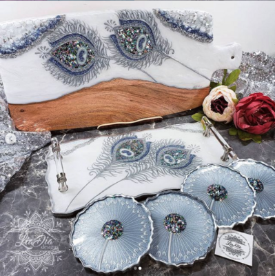Ultra Glam Peacock Serving Set - White and Silver