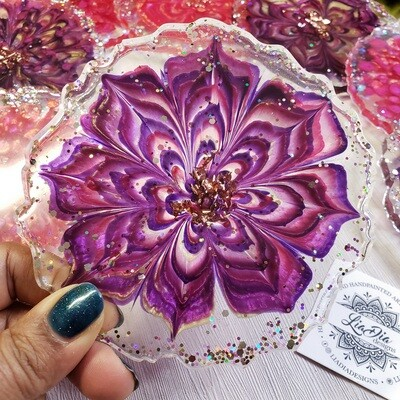 Flower Coasters- Purple and Pink - Set of 4