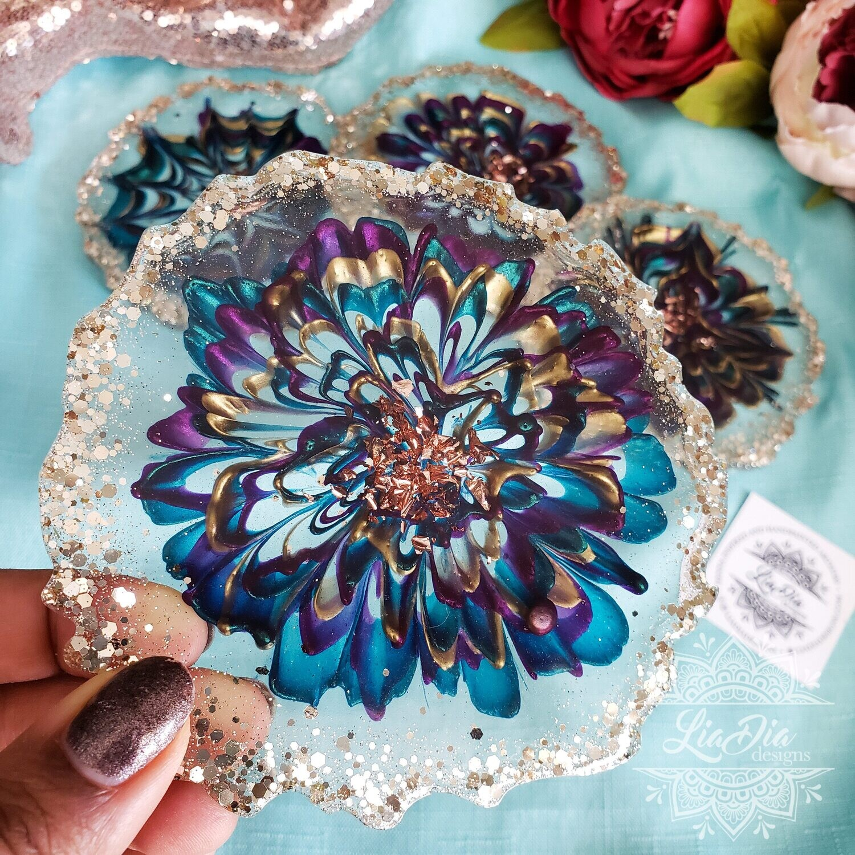 Flower Coasters- Mardi Gras - Set of 4