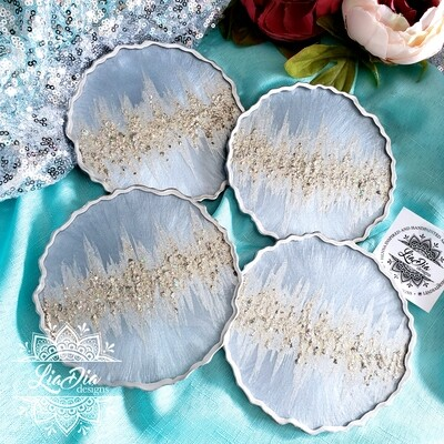 Ultra Glam Abstract Coasters - Grey Blue and Silver - set of 4
