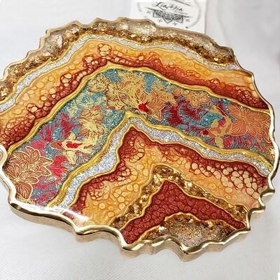 Washi Tape Geode Coasters - Red Gold Koi Fish - Set of 2