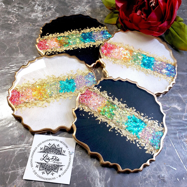 Ultra Glam Coasters -Rainbow - Set of 2 - White or Black