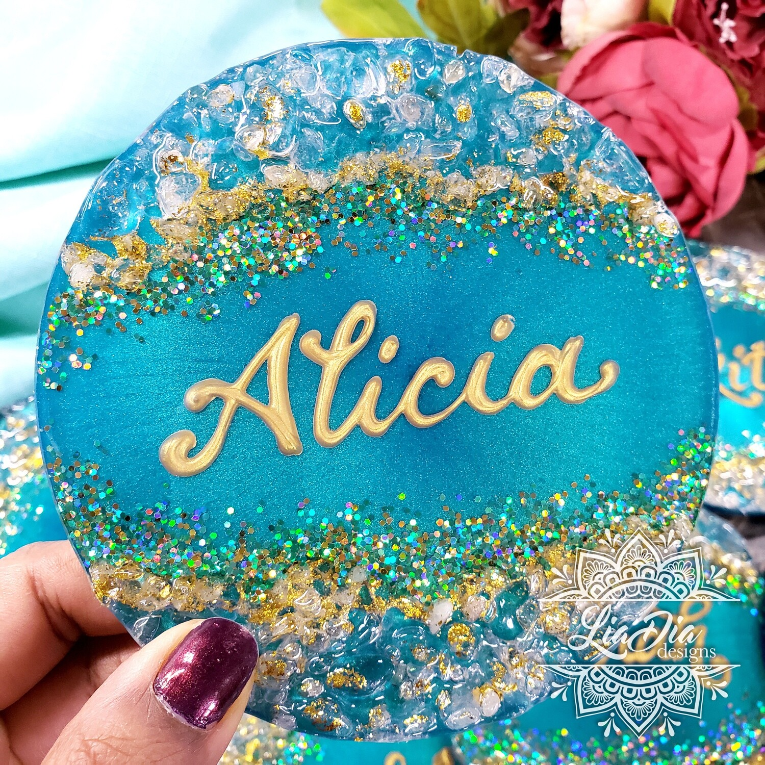 Personalized Geode Style Jewelry Tray / Coaster - 1 tray/coaster
