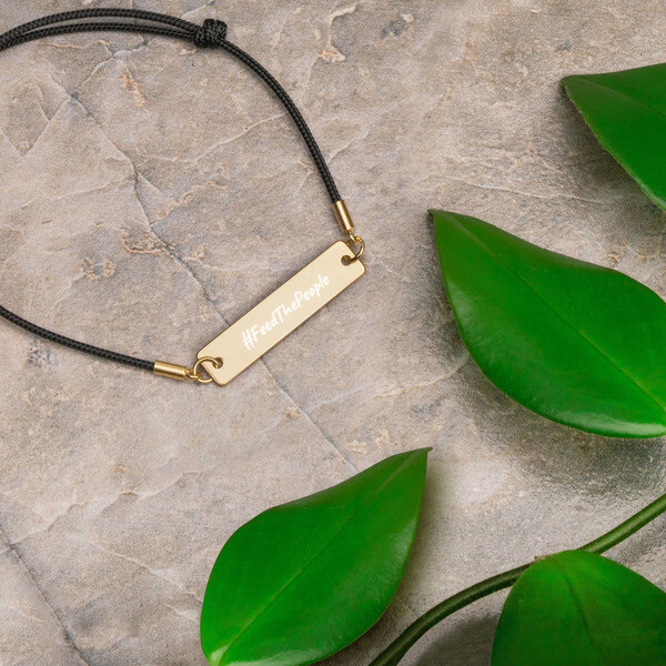 Feed The People-Engraved Silver Bar String Bracelet