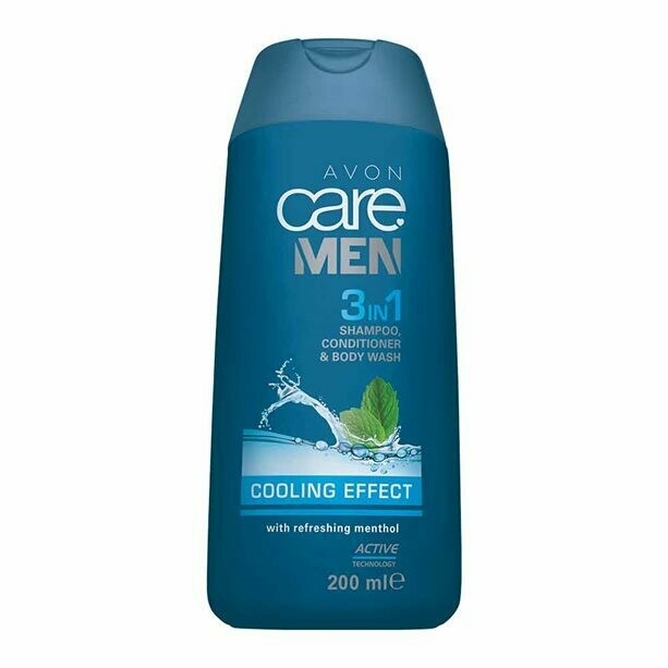 Mens Cooling Effect 3-in-1 Shampoo, Conditioner & Body Wash - 200ml