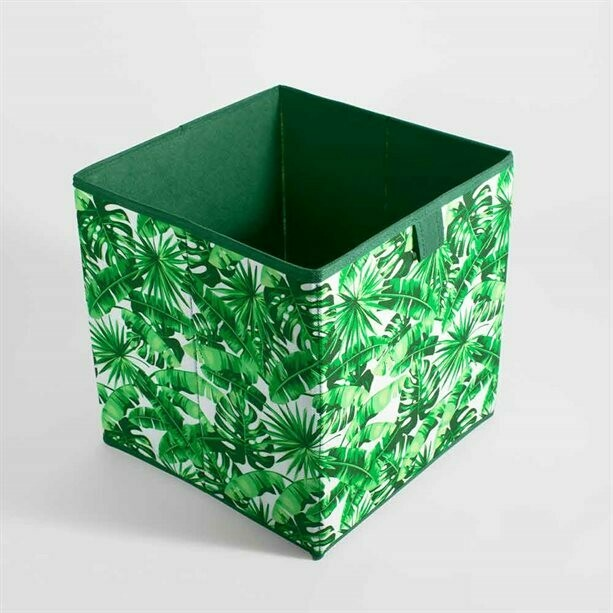 Tropical Leaves Print Cube Storage