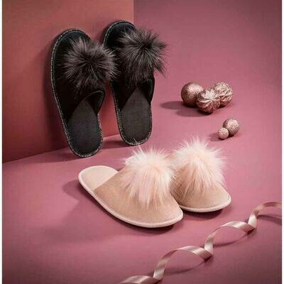 Velour Pom Pom Slippers