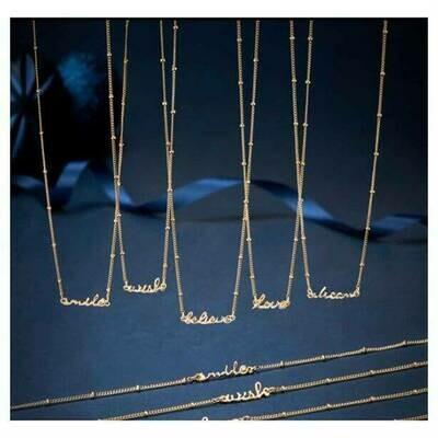 Gold Tone Slogan Necklace