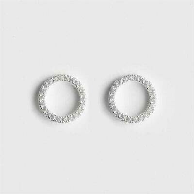 Sterling Silver-plated CZ Circle Earrings - Gift Boxed