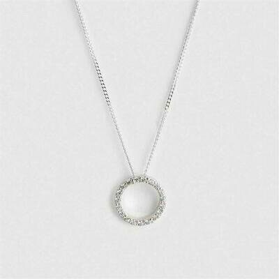 Sterling Silver-plated Circle Necklace with CZ - Gifted Boxed