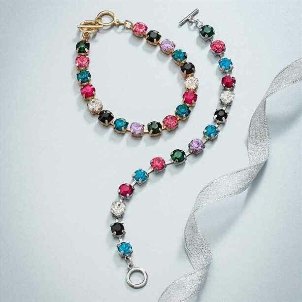 Rainbow Glass Stone Bracelet