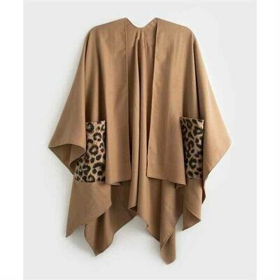 Leopard-Print Pocket Camel Cape