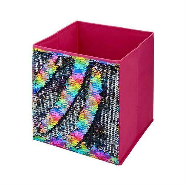 Rainbow Sequin Storage Cube