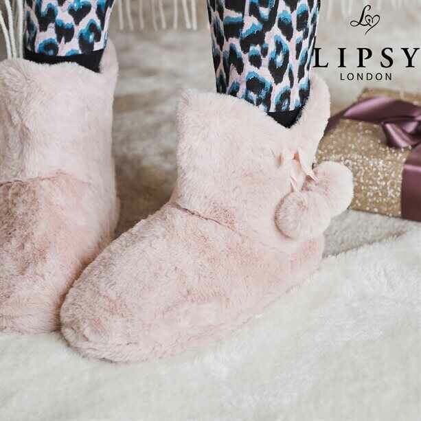 Lipsy Heart Leopard Slipper Boot