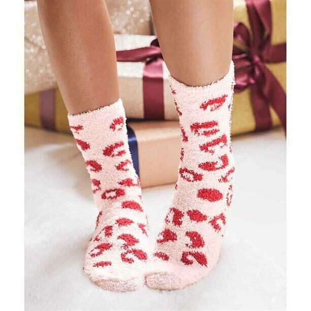 Leopard-Print Slipper Socks