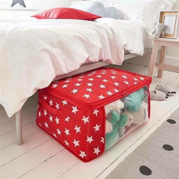 Jumbo Under-Bed Storage - Red Star Print