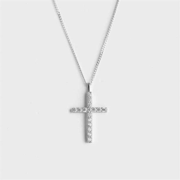 Sterling silver-plated CZ Cross Necklace