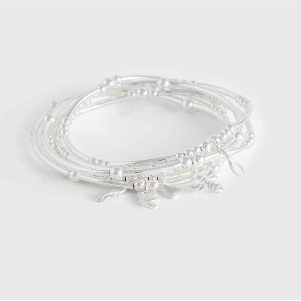 Sterling silver-plated CZ Leighton Stacking Bracelet