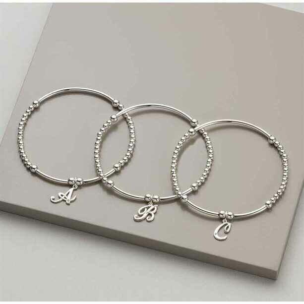 Salena Sterling Silver Diamond Initial Bracelet