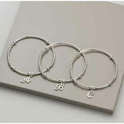 Salena Sterling Silver Diamond Initial Bracelet