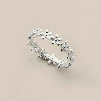 Sterling Silver-plated Floral Stacking Ring - Size 8