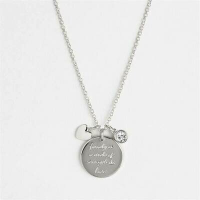 Silver-plated Natalie Heart Charm Necklace