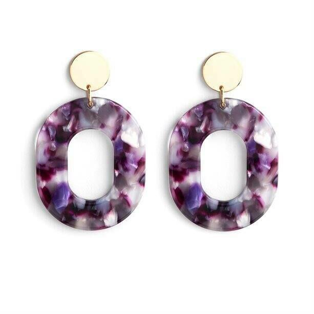 Statement Marble Effect Earrings - Purple