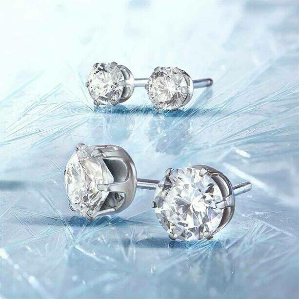 Sterling silver-plated CZ Earring Set