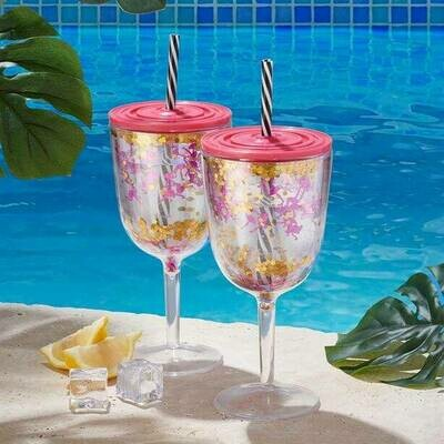 Tropical Picnic Wine Glass