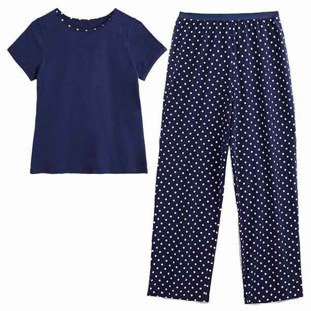 Navy Spot Cotton PJs