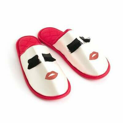 Eyelash & Lips Slipper Mules