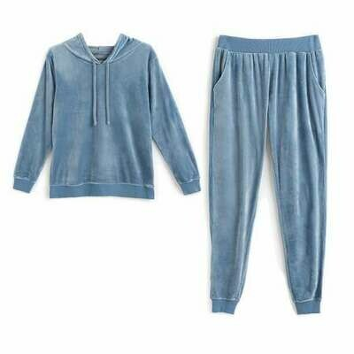 Blue Velour Lounge Set