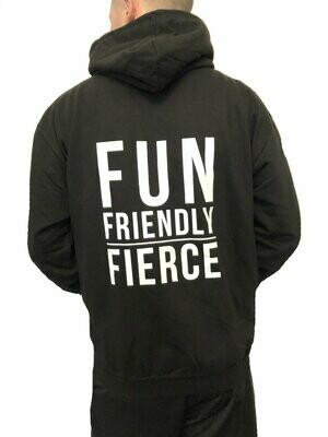 Men's Zip Hoodie, Slogan - Black & White