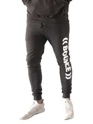 Tapered Jogging Bottoms, Men's - Charcoal & White