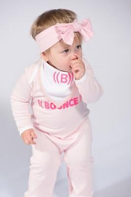 Baby Bib, Reversible Bandana - Pink & White