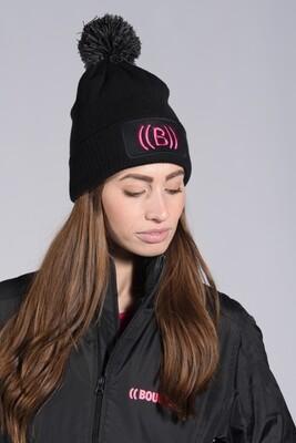 Bobble Hat - Black & Pink