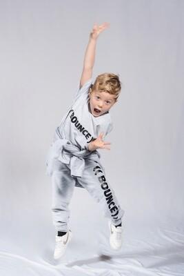 Kids Tapered Joggers - Grey & Black