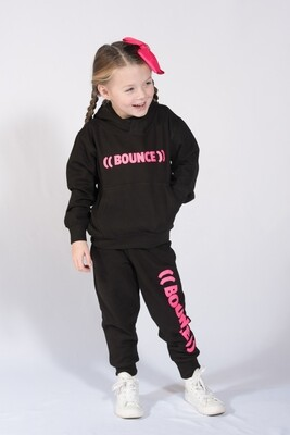 Kids Tapered Joggers - Black & Pink
