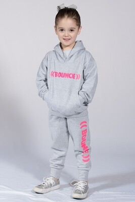 Kids Tapered Joggers - Grey & Pink