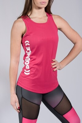 Sports Vest, Side Print - Pink & White
