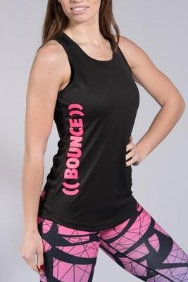 Sports Vest, Side Print - Black & Pink